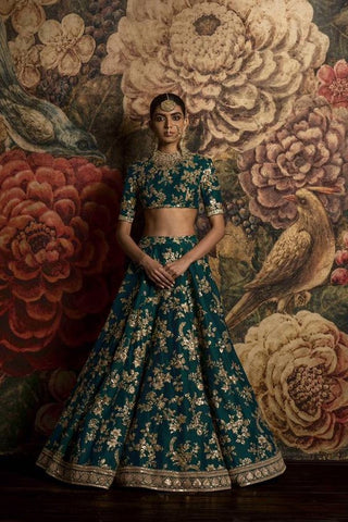 Teal Green Color Bridal Lehenga Choli from Sabyasachi Collection
