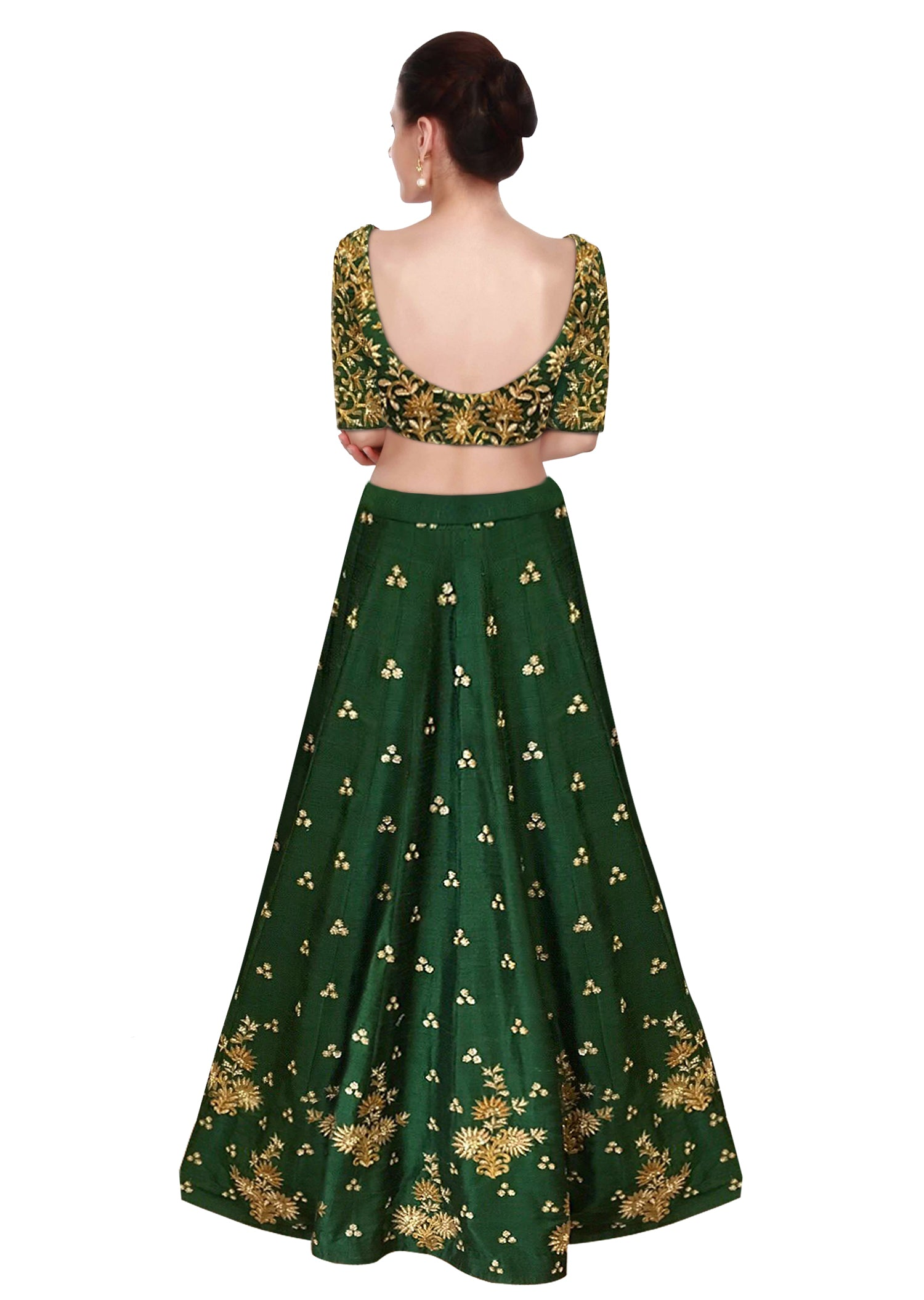 Green Color Lehenga Choli with Beige Dupatta by Panache Haute Couture