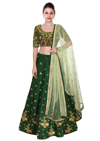 Green Color Lehenga Choli with Beige Dupatta