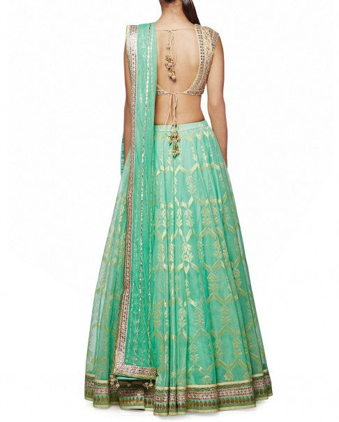 Green Gotta Patti Lehenga Set