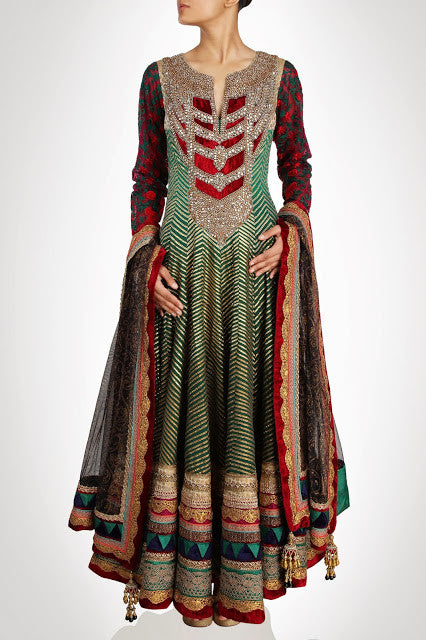 green color Royal looking floor length anarkali suit