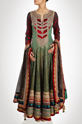 Royal Collection floor length anarkali suit in Green color