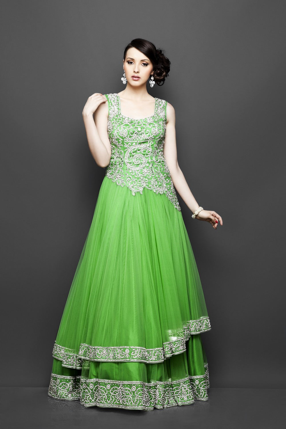Green color Indo Western Bridal Gown