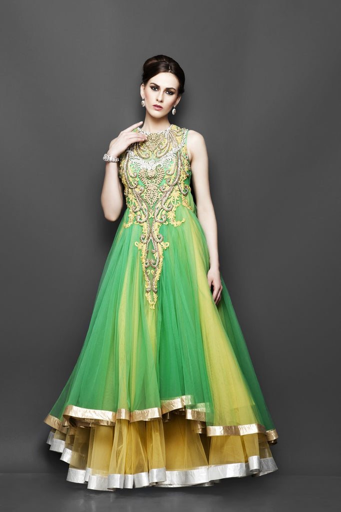 Yellow and Green layered Indo Western Bridal gown