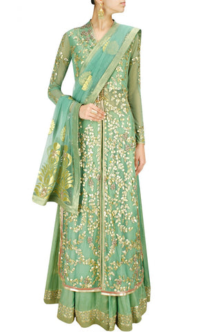 Green gota patti long jacket with foil lehenga and dupatta