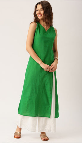 Green Color Zig Zag Print Kurti in South Cotton