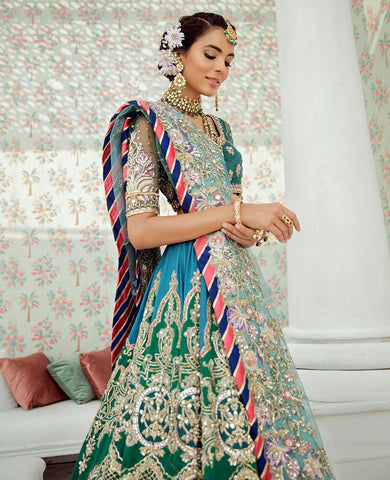 Green and Blue Color Wedding Lehenga