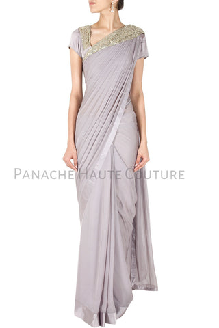 Grey Color Designer Saree Gown Online