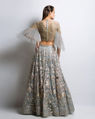 Grey Color Gotta Patti Applique Lehenga
