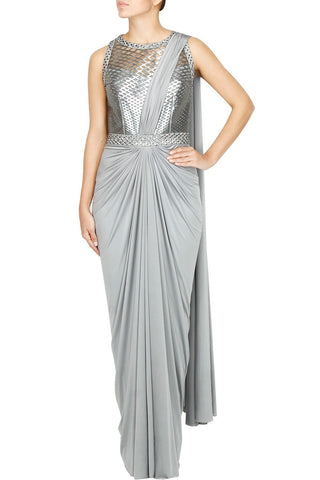 Grey color saree gown