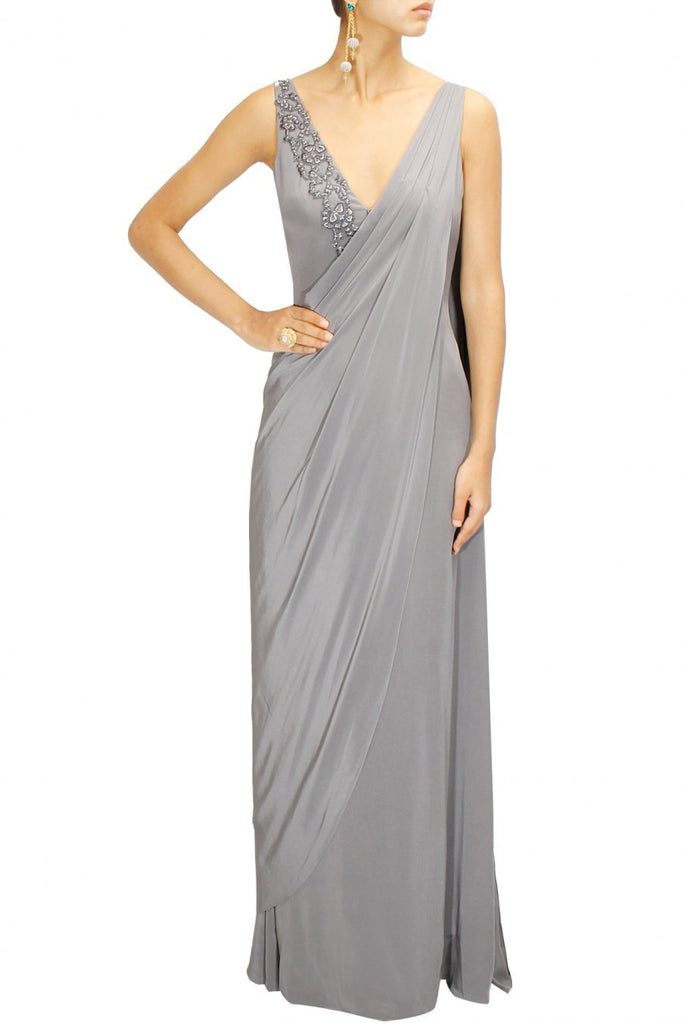 Grey Colour Saree Gown