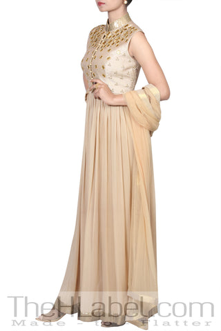 Beige Anarkali With Coin Embroidery And Beige Dupatta