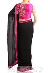 Black Saree with Pink Embroidered Blouse
