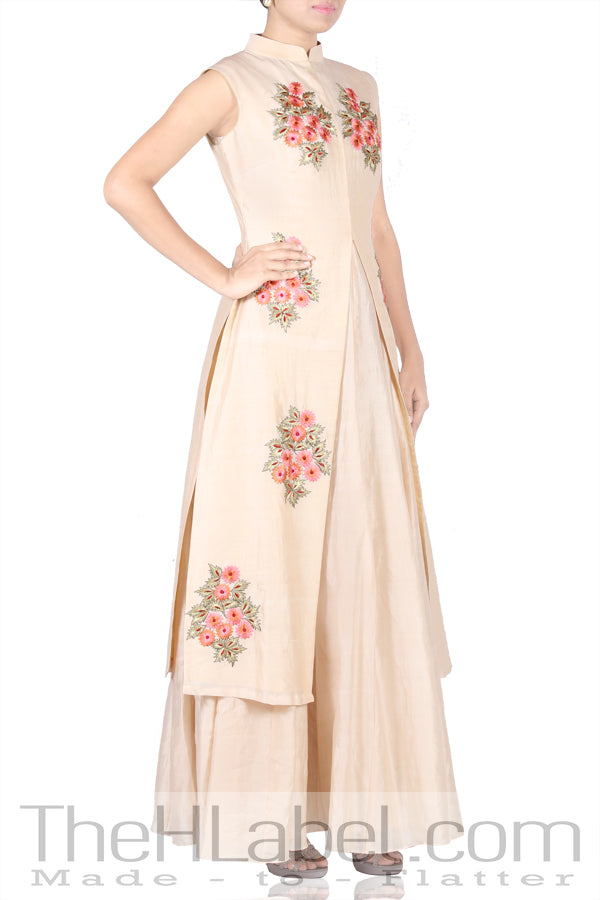 Beige Anarkali with Beige Cape