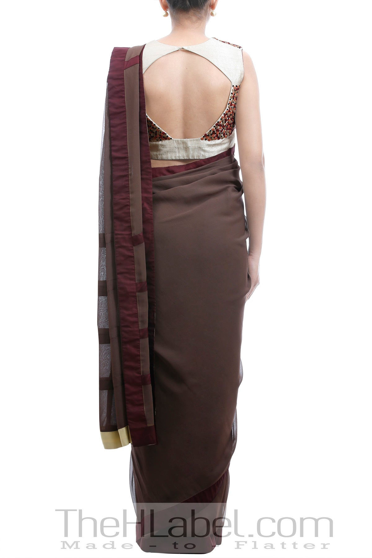 Brown Saree & Beige Blouse with Embroidered Knots