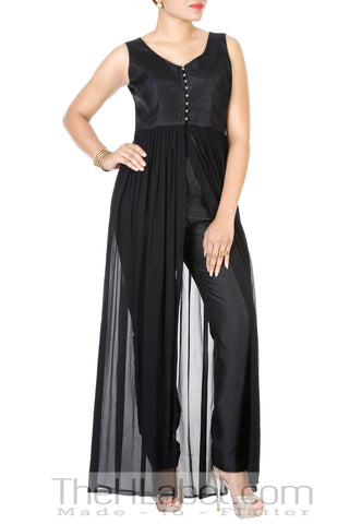 Rawsilk & Georgette Cape with Black Cotton-Silk Pants
