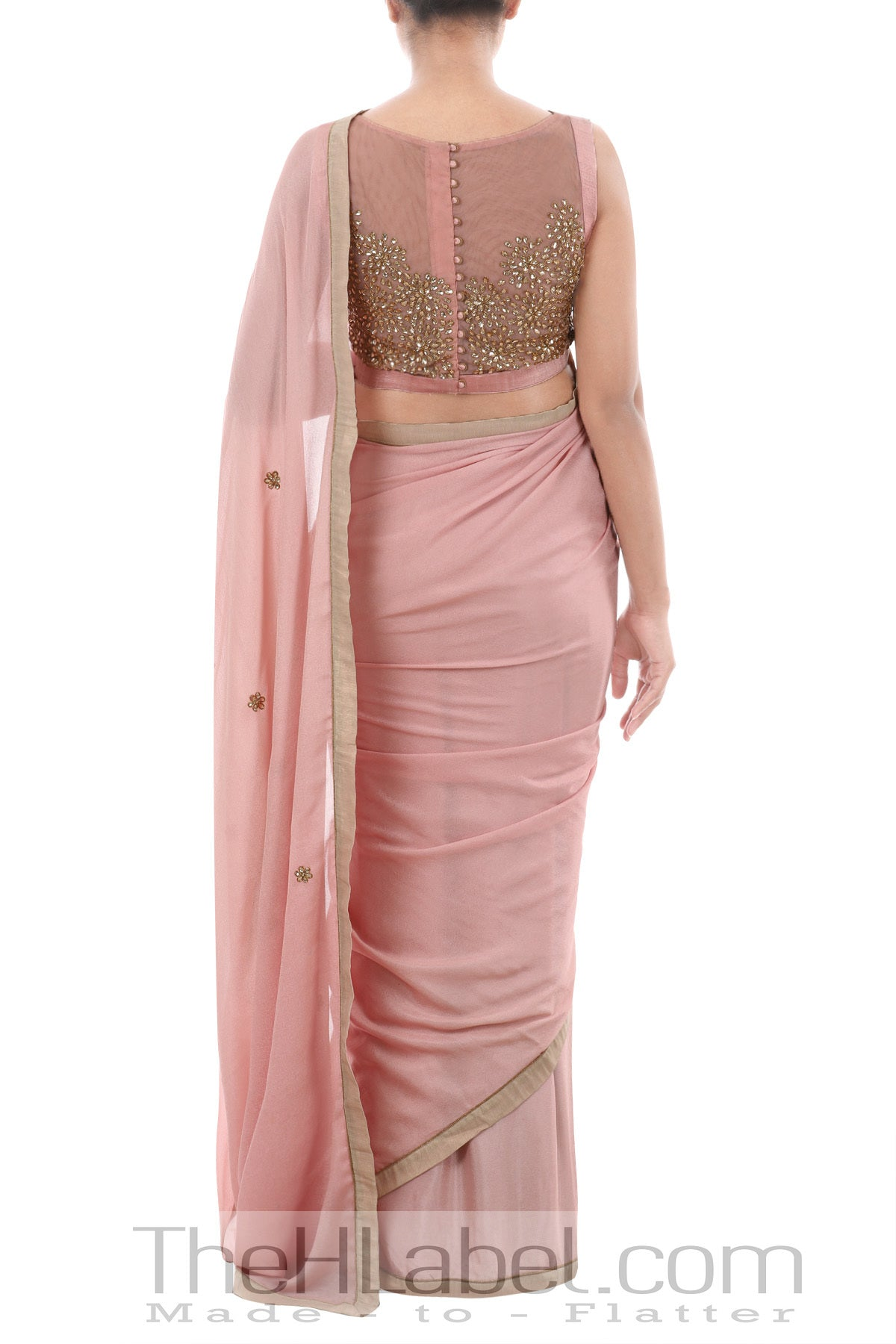 Kundan Embellished Crepe Sari with Boatneck Blouse