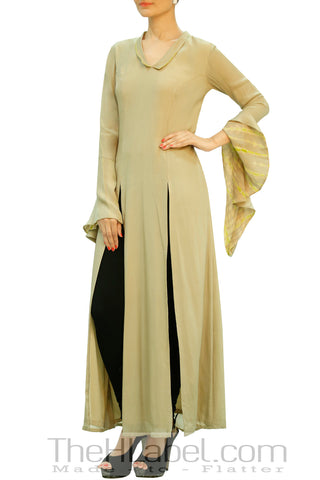 Beige Tunic with Front Slits & Cascade Sleeves