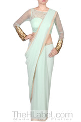 Pista Green Saree with Sequins Embroidered Blouse