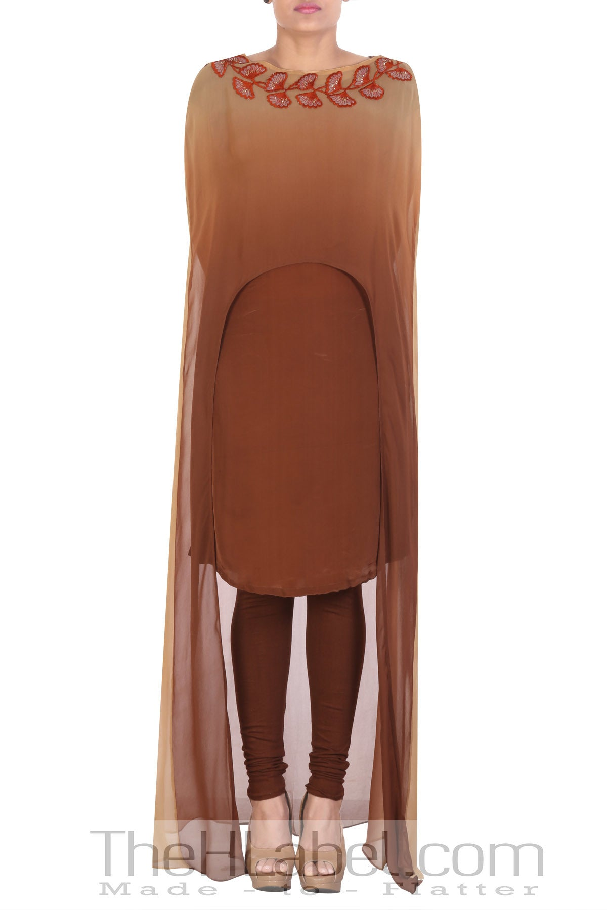 Natural crepe brown tunic with brown embellished cape and leggings