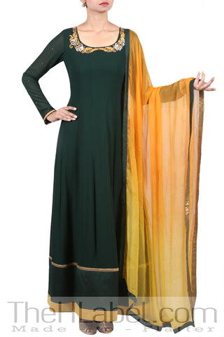 Badla Embroidered Green Long Anarkali & Ombre Dupatta