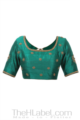 Raw Silk Blouse With Floral Embroidery