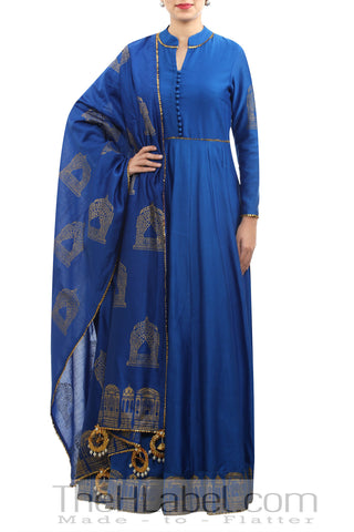 Blue chanderi block & screen print anarkali with dupatta