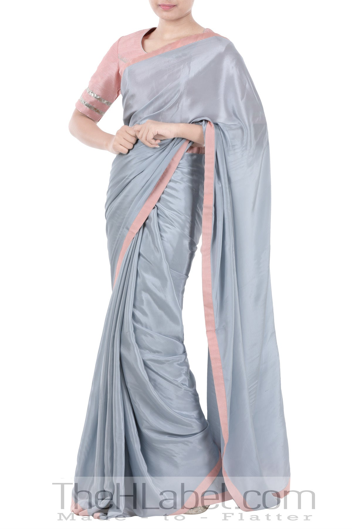 Peach Gotta Patti Blouse with Pastel Blue Saree