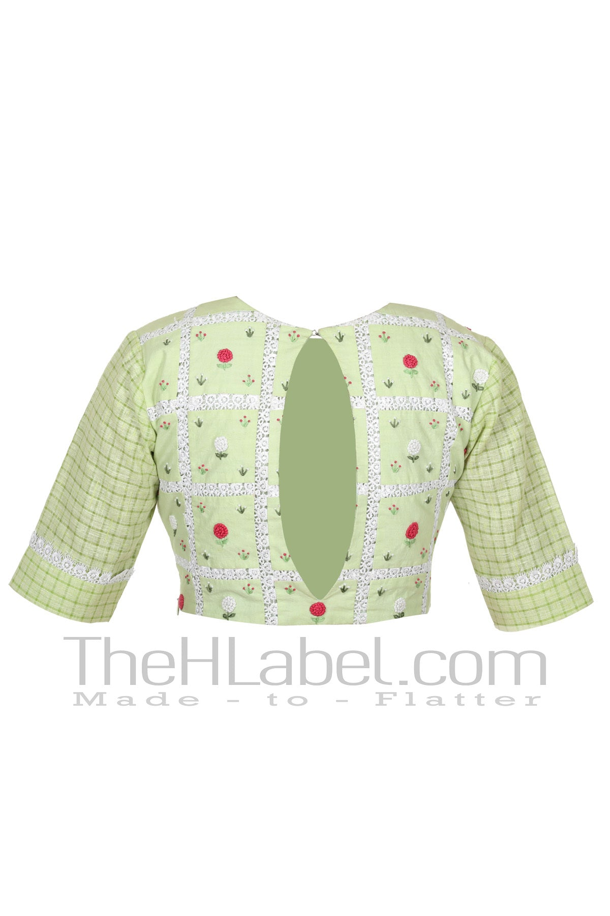 Green floral embroidery blouse