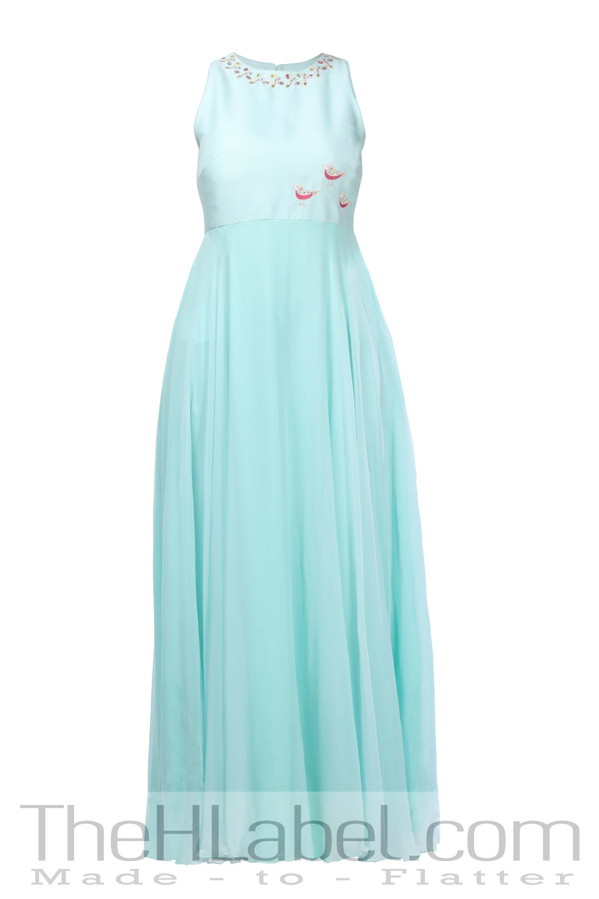 Pastel blue embroidered maxi with pastel pink dupatta