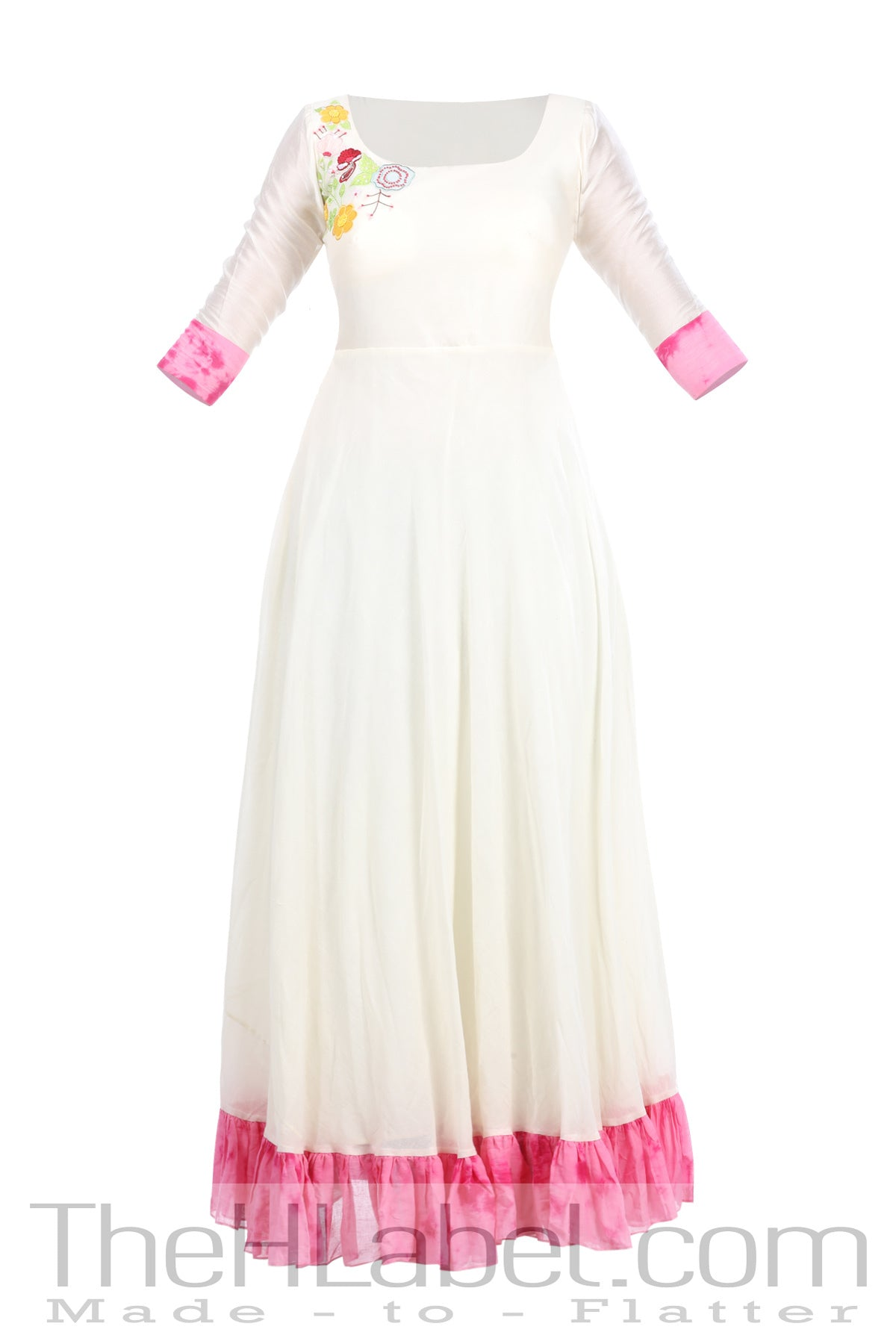 Beige & Pink tie dye embroidered tiered anarkali