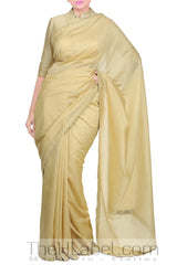 Beige Chanderi Gotta Embroidery Blouse With Saree