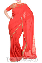 Reddish embroidered blouse with saree