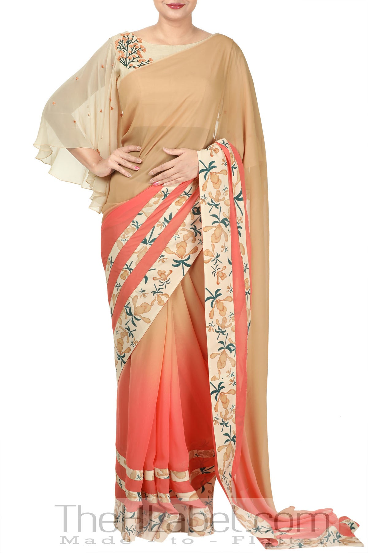 Ombre Saree with Embroidered Blouse