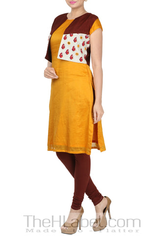 Kurti paired with embroidered jacket