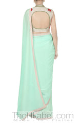 Pastel Pink Embroidered Blouse With Pastel Blue Saree