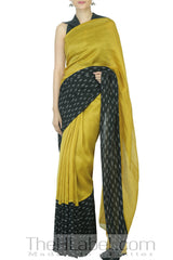 Olive Green Saree with Ikat Border & Black Blouse
