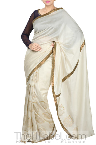 Saree with Block Printed Pallu Paired with Embroidered Net Blouse