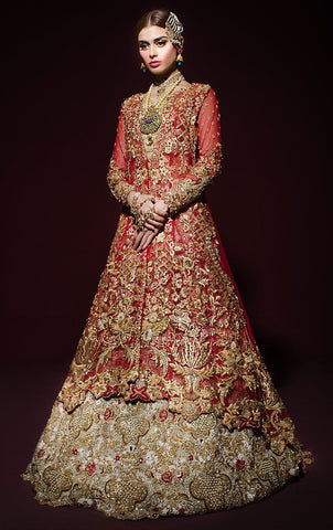 Heavily Embroidered Bridal Anarkali Lehenga