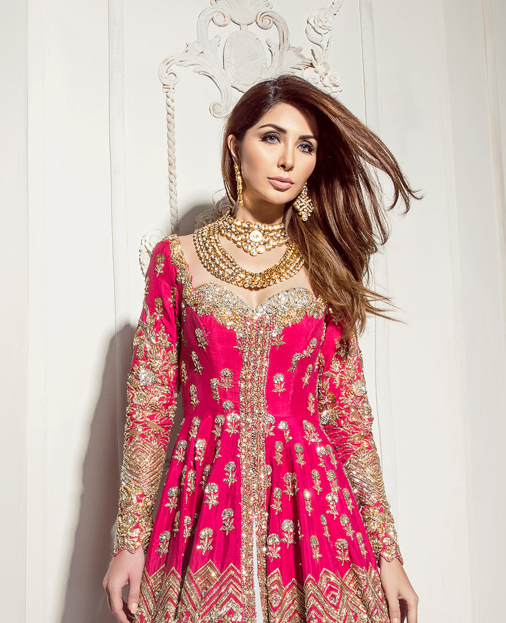 Hot Pink Color Wedding Anarkali Lehenga