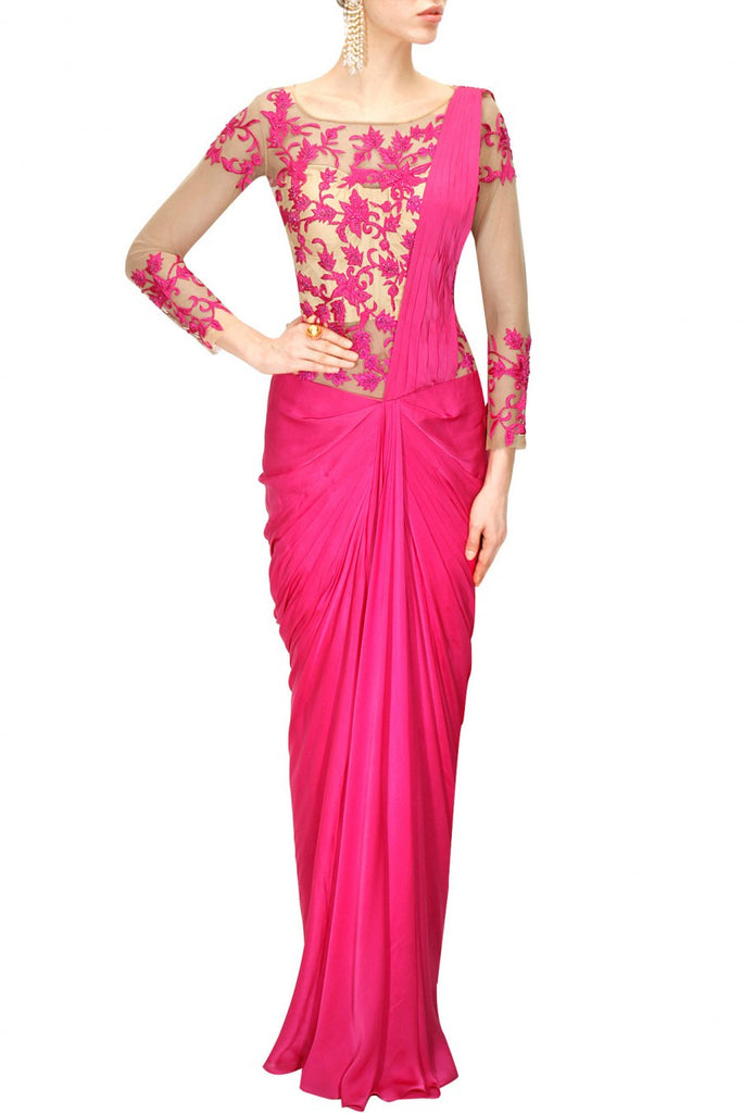 Hot Pink Colour Saree Gown