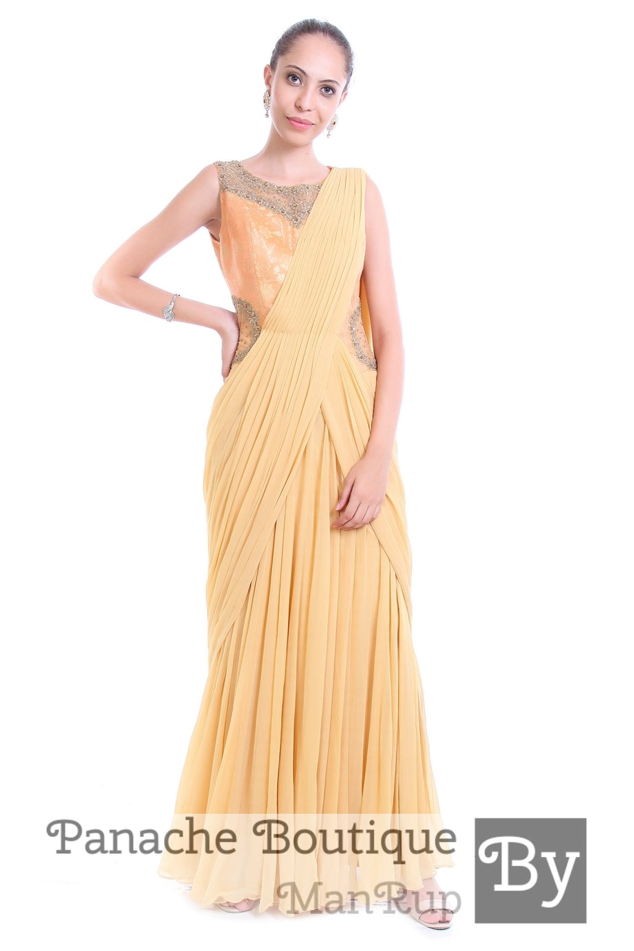Silk Brocade and Georgette Silk Saree Gown