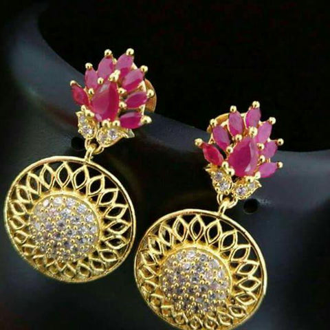 AD Stone Earrings with Red stones