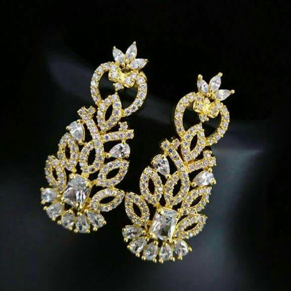 AD Stone Earrings with White stones