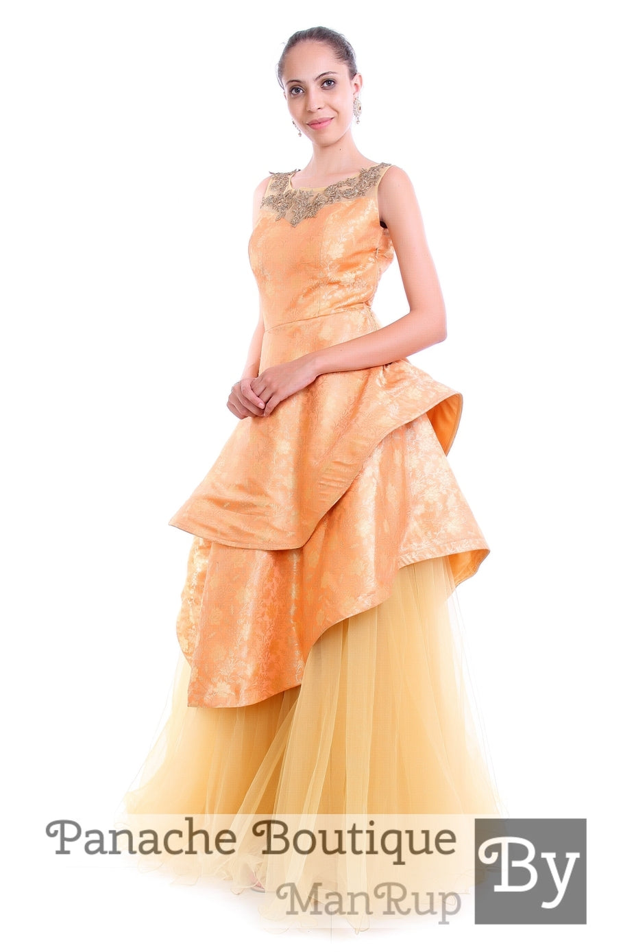 Silk brocade Layered Gown