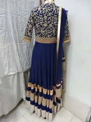 Blue color Long Anarkali suit