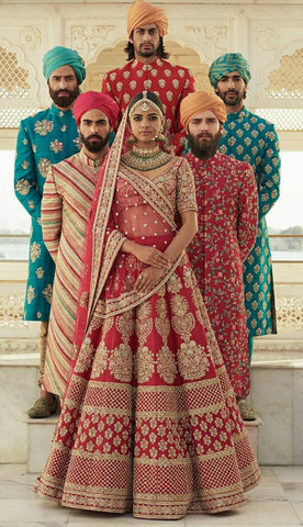 Dark Red Colour Sabyasachi Inspired Wedding Lehenga Choli