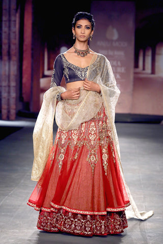 Indigo blouse with red anarkali lehenga