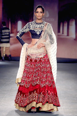 Indigo crop blouse with red anarkali lehenga