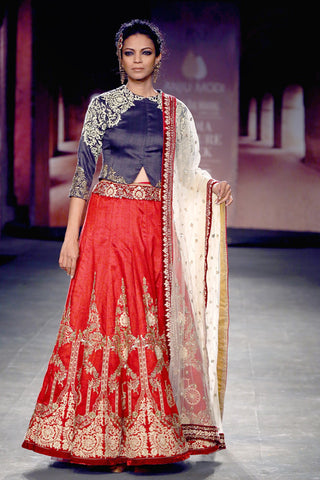 Indigo jacket-blouse with red embroidered lehenga